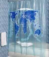 World Map Shower Curtain, Water Resist Bathroom Beautiful Blue Colors Waterproof