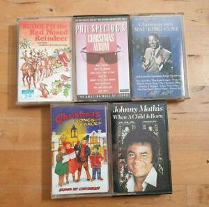 Christmas-Music-Cassette-Tape-bundle-x-5-tapes-xmass-songs-carols
