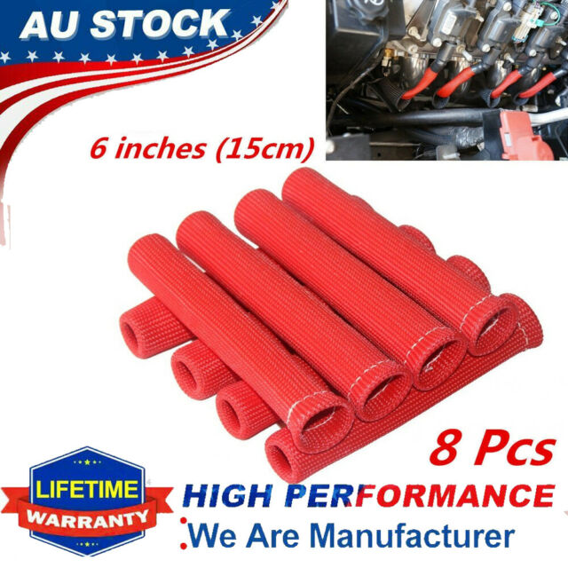 8 Piece 6'' High Heat Shield Engine Spark Plug Wire Boot Protector Sleeve Cover