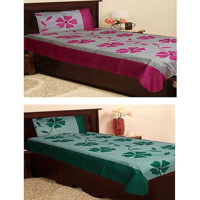 Homefab India Set Of 2 Cotton Single Bed Sheet With 2 Pillow Covers  (Combo716)