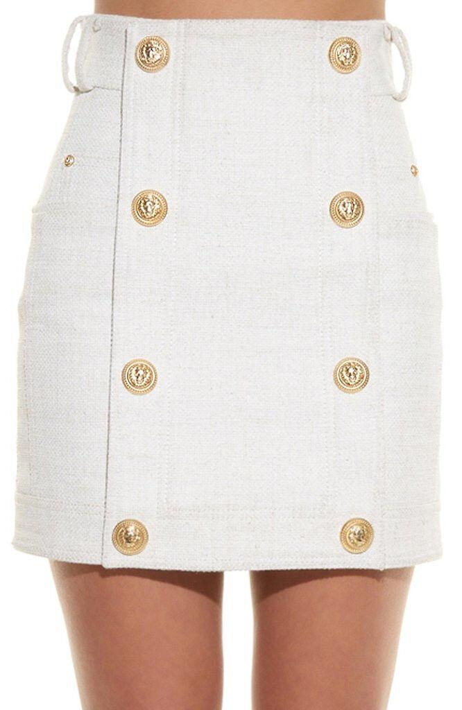 Button Embellished Mini Skirt White