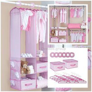 24 Piece Girl Nursery Closet Organizer Baby Clothes Hangers Storage Shelf Lady Ebay