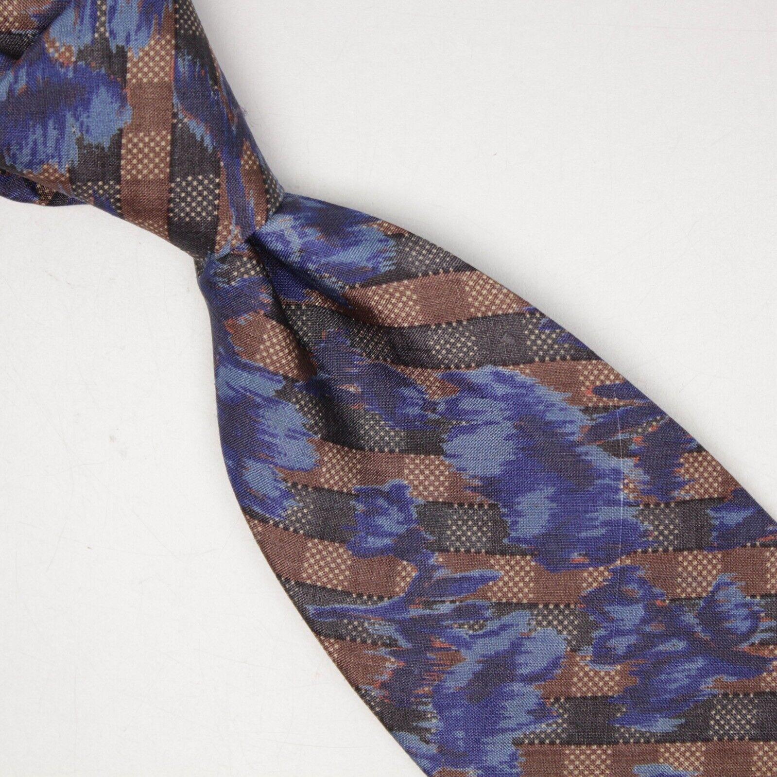 Cerruti 1881 Herren Seide Krawatte Blau Braune Abstrakt Kariert Bedruckt Made IN