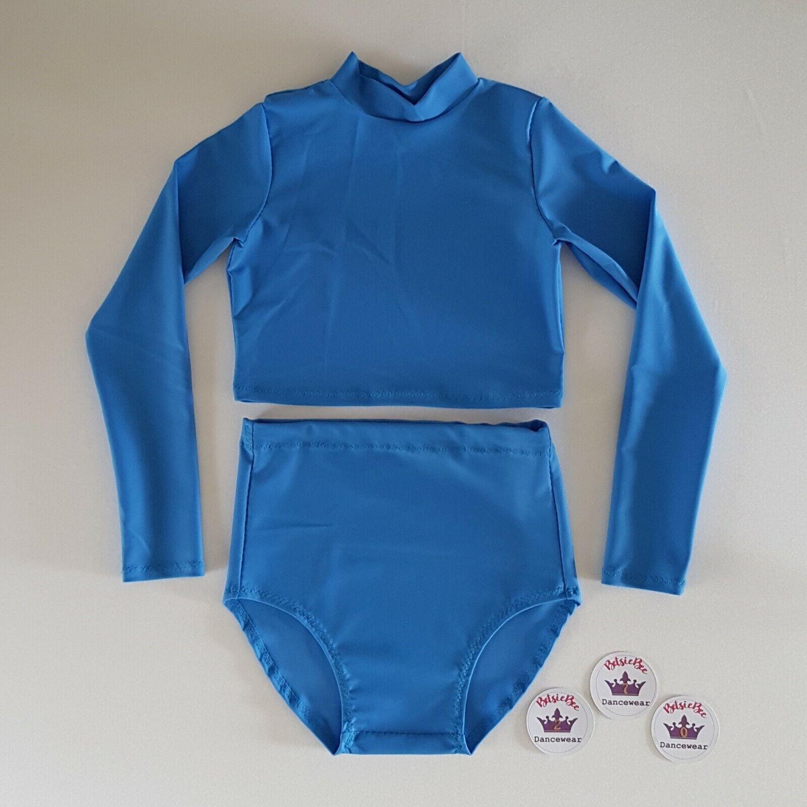 (#270) Age 5/7 Dance Beginner Freestyle Cropped Top/Briefs Set Cornflower Blue