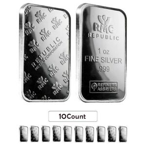 Lot of 10 - 1 oz Republic Metals (RMC) Silver Bar .999 Fine