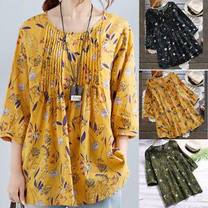 Women-Ladies-Long-Sleeve-Print-Plus-Size-Loose-Blouse-Pullover-Tops-Shirt