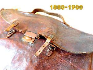 Echt-Leder-Tasche-Militaer-Studentika-1890-1900-komplett-Kartentasche