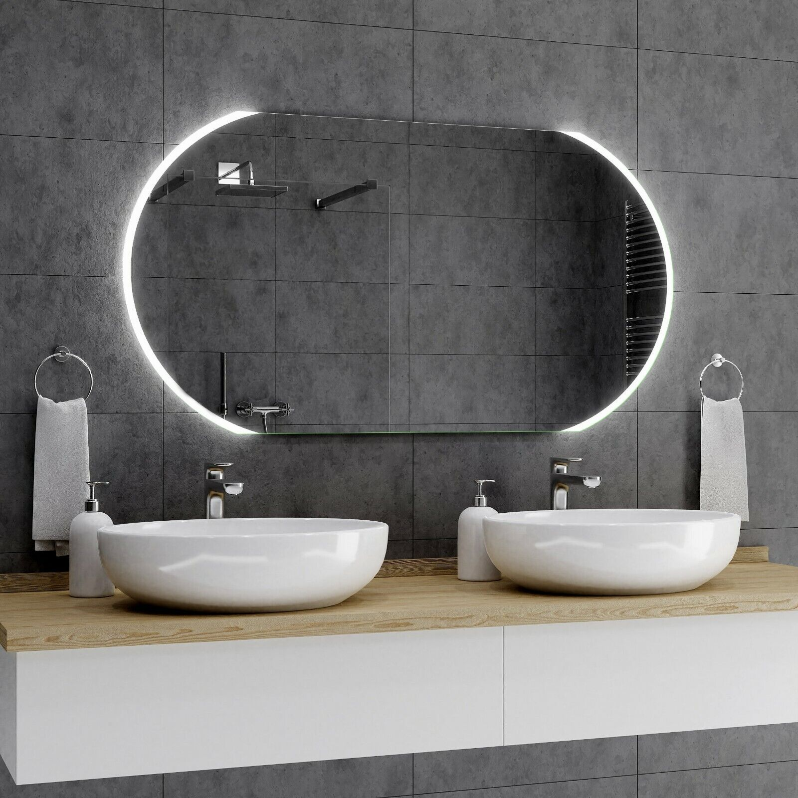 BALTIMORE Badspiegel mit LED Beleuchtung Wandspiegel Badezimmerspiegel  Maß A01