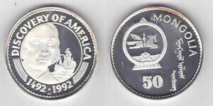 MONGOLIA-RARE-SILVER-PROOF-50-TOGROG-COIN-1992-YEAR-KM-57-SHIP-COLUMBUS