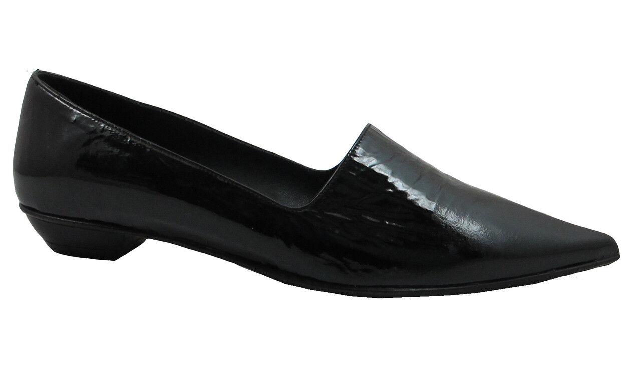 Oxmox 306 Women's Pointy Flat Black Patent