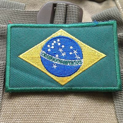 Brazilian flag Brazil National Flag EMBROIDERED HOOK & LOOP VELCRO PATCH