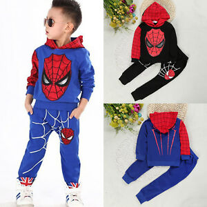 2Pcs-Kids-Boys-Outfits-Set-Spiderman-Shirt-Hoodie-Tops-Pants-Tracksuits-Sports