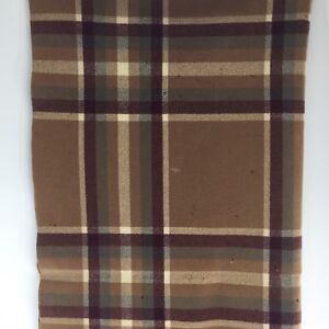 VTG-Pendleton-Brown-Red-Plaid-Wool-Fringe-Throw-Blanket-Heavyweight-44-x54-A1A