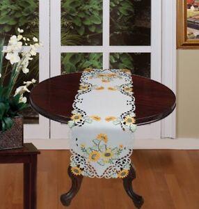 Creative-Linens-Sunflower-Table-Runner-15x53-034-Embroidered-Cutwork-Dresser-Scarf