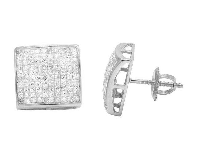 14k White Gold Genuine Princess Diamond Square Kite Earring Studs 1 80ct 11mm