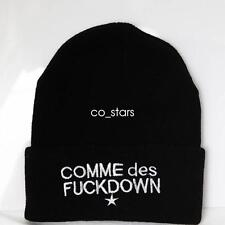 UNISEX MENS WOMANS KNIT KNITTED BEANIE RETRO COOL COMME DES FUCKDOWN BLACK