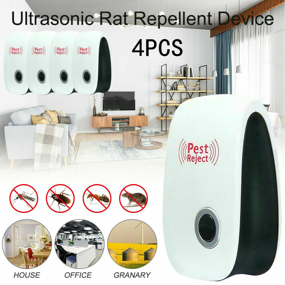 4x Ultrasonic UK Plug In Pest Repeller Night Light Mouse Mice Rat Spider Insects
