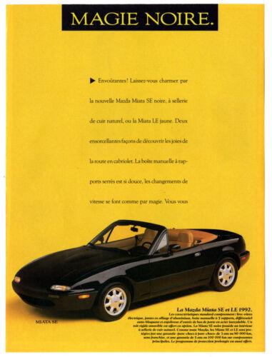 1992 MAZDA Miata SE Vintage Original Print AD Black convertible photo Canada