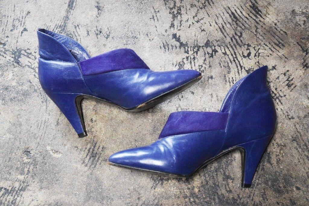 NICKELS VTG femmes violet High Back Heels Suede Trim Made in  Taille 5.5
