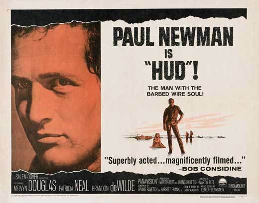 HUD Movie POSTER 22x28 Half Sheet Paul Newman Melvyn Douglas ...