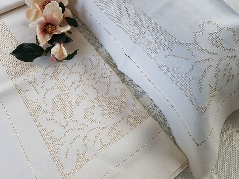 Sheets pure linen with hand embroidery Sicilian style