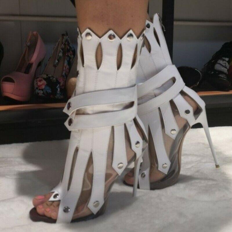 Hollow Nachtclub Sommer Pumps Damen Open Toe Stilettos Cut Out Sandalen Nieten