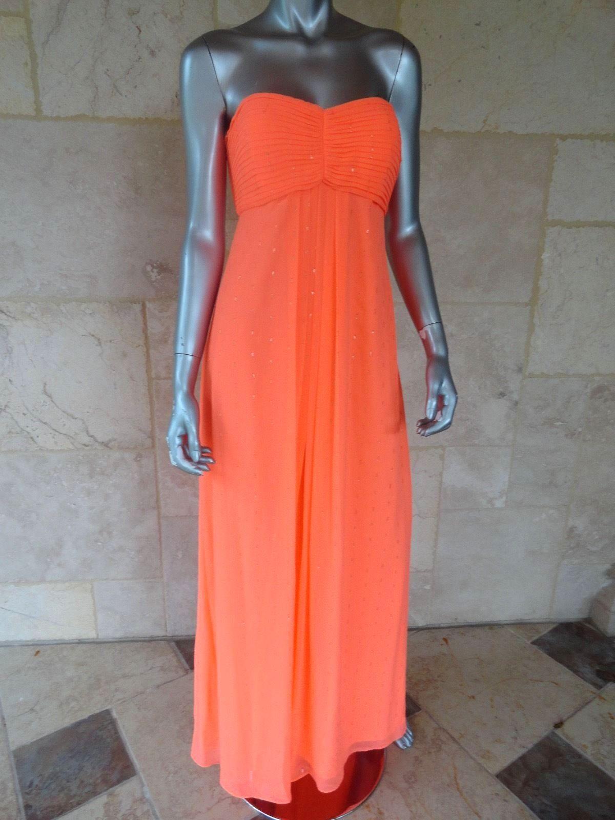 238 AQUA orange Metallic Prom Strapless Semi-Formal Dress Gown Sz 8 NWT