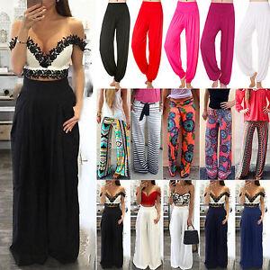 Women-Boho-Hippie-Flared-Wide-Leg-High-Waist-Pants-Lady-Casual-Palazzo-Trousers