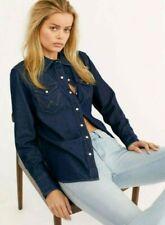 Nwt Free People Wrangler Icons Oversized Denim Jean Shirt Dark Indigo Xs