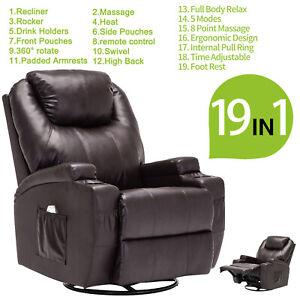 Pleasant Details About Ergonomic Leather Massage Chair Recliner Sofa Vibrating Heated Lounge W Rc Brown Frankydiablos Diy Chair Ideas Frankydiabloscom