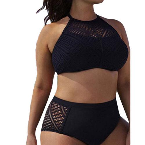 Damen Push Up Bikini Set Top Hohe Taille Spitze Bademode Badeanzug Mode Gr.38-46