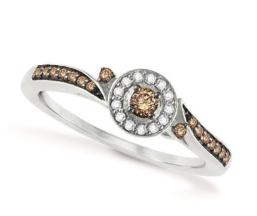 10K White gold Chocolate Brown Diamond Ring 2.4mm Chocolate Solitaire Halo .20ct