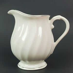 Syracuse Silhouette Wedding Ring Creamer White with Platinum Trim 4 1/4""