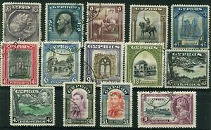 Cyprus-1928-1951-used-selection-with-KGV-1928-Pictorials-pi-1pi-9pi-amp-45pi