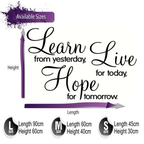 transferencia nuevo diseño y cito Aprender vivir esperanza » pegatinas de pared 4 Tamaños Disponibles