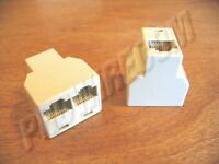 2-way Rj45 Cord Splitter Ivory Female To 2 Female 8p8c Modular Ethernet Adapter