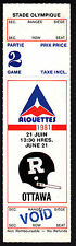 Montreal Alouettes vs Ottawa Rough Riders June 21 1981 Unissued Void Ticket