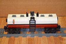 "NEW Lego Train Custom Octan White/Dark Red Tanker Car 9"" inches long RC/9V"