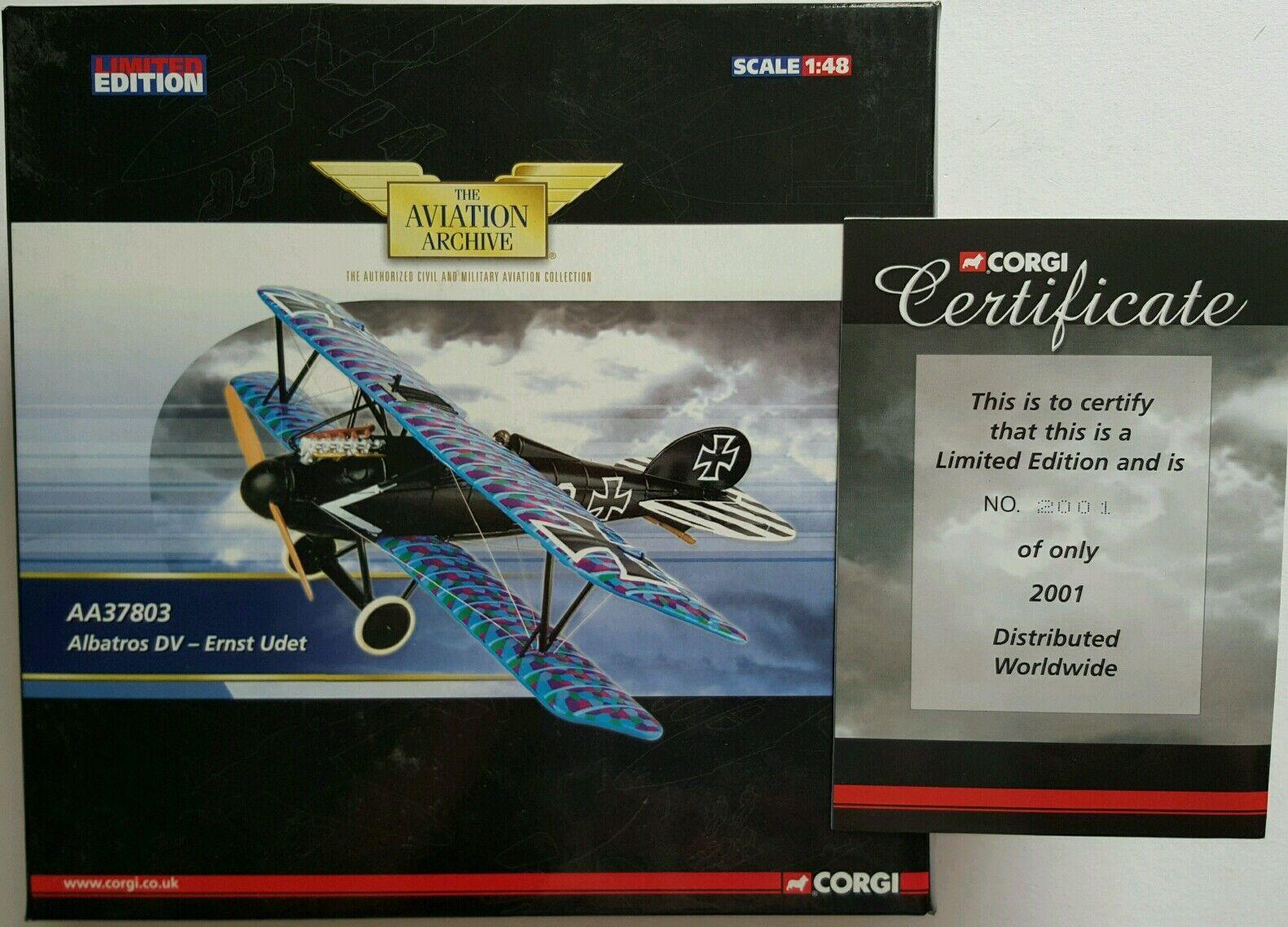 Corgi Aviation Albartross DV-Ernst Udet AA37803 Certificate No 2001 of 2001