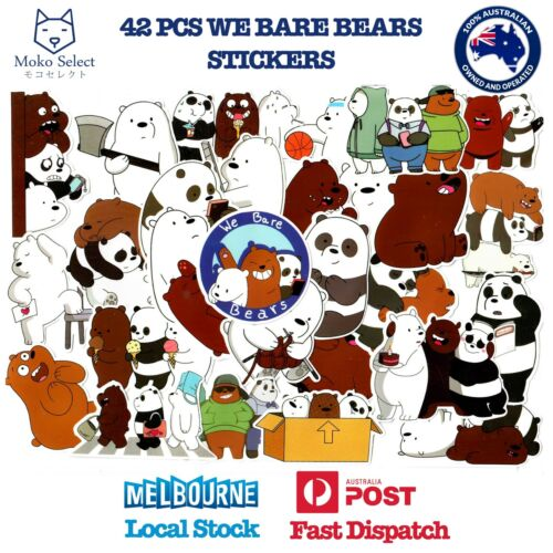42 PCS WE BARE BEARS Stickers Decal for Laptop Cars 2019 NEW DESIGN BEAR STACK
