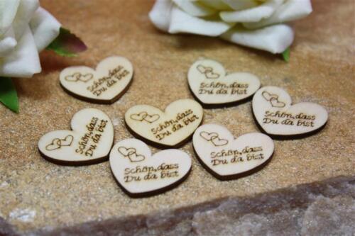 50 Stück Streudeko Holz Herz Verlobung Hochzeit Taufe Konfirmation Kommunion