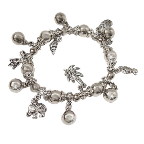 Pulsera CHARM plata chapados elástica Charms joyas bisutería a1516