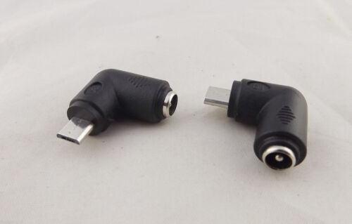 DC 5.5 x 2.1mm Female To Micro USB 5 Pin Male Right Angle Power Supply Adapter