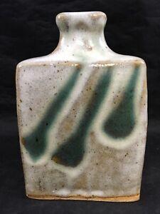 Vintage-Modern-Square-Ceramic-Flower-Vase-Gray-with-Green-Stripes-5-5-034-Pottery
