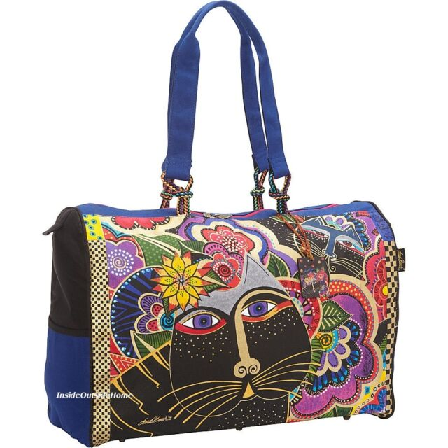 Laurel Burch Carlotta's Black Cats Large TRAVEL Tote Bag Weekend Beach Sport New