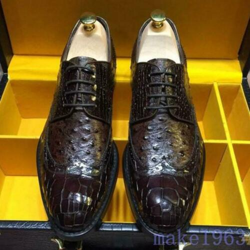 Mens Hand Made Real Leather Crocodile Pattern Formal Dress Shoes Carved Oxfords