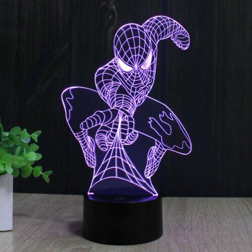 Super eroe uomo ragno 3D LED Luce notturna Interruttore Touch tavolo Lampada da tavolo regalo xams