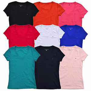Tommy-Hilfiger-Womens-T-shirt-V-neck-Tee-Short-Sleeve-Flag-Logo-Solid-New-Nwt