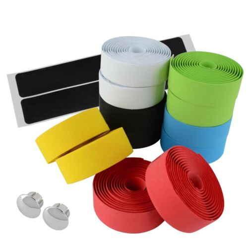 1Pair Road Bike Bicycle Handlebar Bar Grip Wrap Ribbon Tape 2pcs Bar Plug