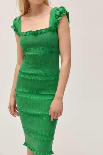 CAPULET KELLY GREEN SMOCKED DRESS LARGE